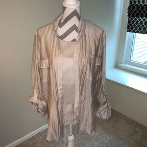 Chico's Button Down Blouse with 3/4 Sleeve Shirt.